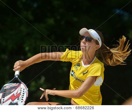 MOSCOW, RUSSIA - JULY 20, 2014: Lorena Melo of Brazil in the final match against Italy during ITF Beach Tennis World Team Championship. Italy won 2-0