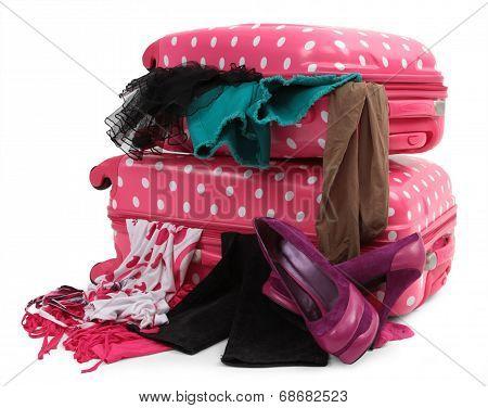Pink travel luggage