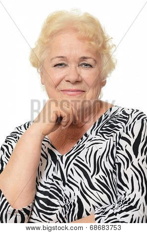 Portrait of old woman isolated on white