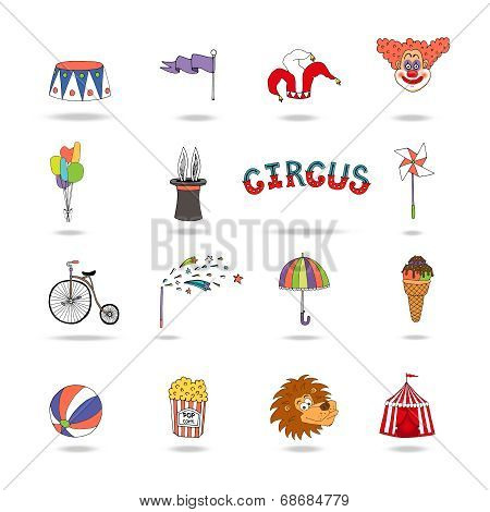 Set of colorful vector circus icons
