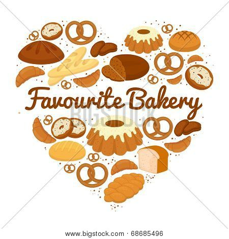 Heart shaped cakes  sweets and bread badge
