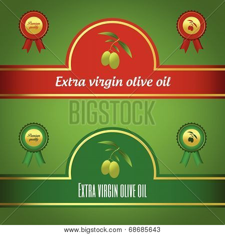 Set of rxtra virgin olive oil labels - red and green