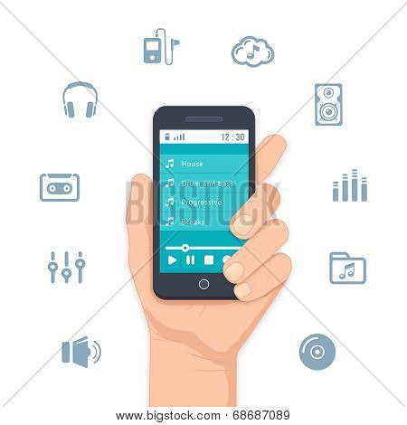 Hand holding a mobile MP3 player