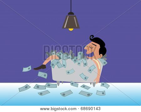 Businessman Lying On The Money