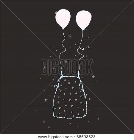 Sketch - dot blouse + balloons