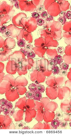 Watercolor Of Red  Floral Background