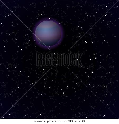Cartoon Pluto in open space