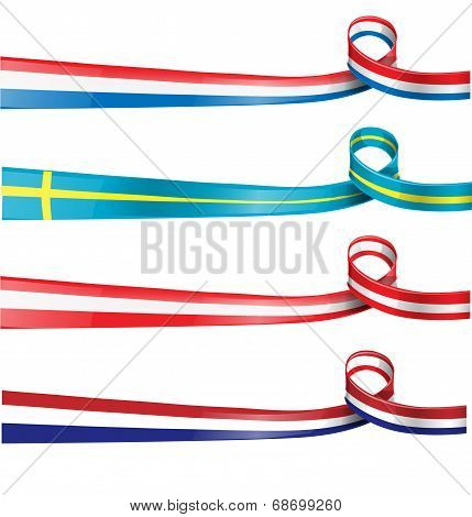 European Flag Ribbon Flag Set