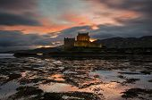 stock photo of yellow castle  - Scottish castle situated on the western coast of Scotland - JPG