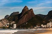 picture of ipanema  - Ipanema beach with beautiful mountains in Rio de Janeiro - JPG