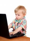 Постер, плакат: Baby Boy With Laptop