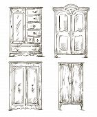 picture of interior sketch  - set of hand drawn wardrobes - JPG