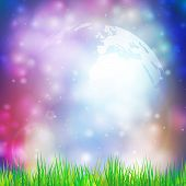 picture of land-mass  - Abstract background of globe with grass vector illustration - JPG