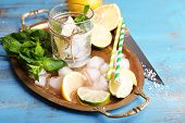foto of mojito  - Fresh ingredients for mojito on old tray - JPG
