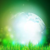 pic of land-mass  - Abstract background of globe with grass vector illustration - JPG