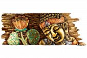 pic of sinhala  - Timber board of Buddha and Lotus flower - JPG