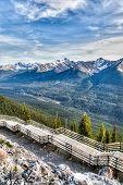 pic of interpreter  - Interpretive walkway on the summit of Sulphur Mountain overlooking mountain ridges in Banff Alberta Canada - JPG