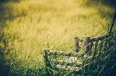 picture of lawn chair  - Bamboo wooden chairs on grass field in countryside Thailand vintage  - JPG