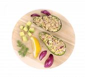 stock photo of fruit platter  - Avocado salad with tuna on platter - JPG