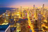 pic of willy  - Aerial view of Chicago City downtown at dusk - JPG