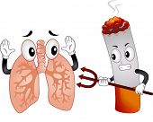 foto of evil  - Mascot Illustration Featuring an Evil Cigarette Pointing a Pitchfork at a Scared Lungs Mascot - JPG