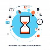 foto of countdown  - Vector illustration of business and time management flat design concept - JPG