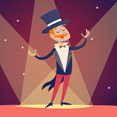 stock photo of soffit  - Circus Show Host Boy Man in suit with Cylinder Hat Icon on Stylish Background Retro Cartoon Design Vector Illustration - JPG