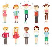 stock photo of juggler  - Set if vector icons of small children in colorful clothes with multiracial girls and boys laughing and smiling in smart and casual outfits  dresses  shorts and pants isolated on white - JPG