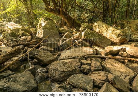 Rock At The Dry Waterfall In Summer