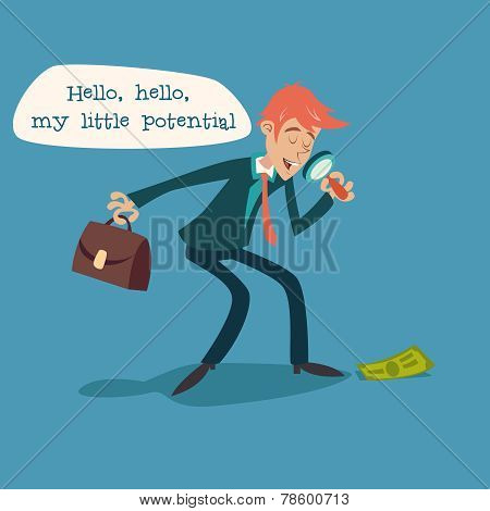 Businessman Character with Magnifying Glass and Briefcase Considering Money Possibility Development