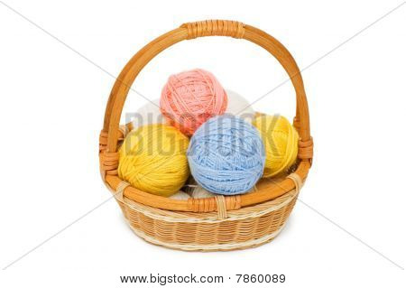 Ball Of Threads In A Basket