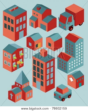Flat Building set isometric vector