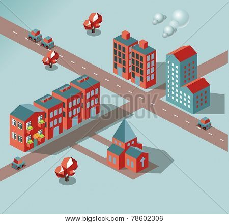 In development city. vector isometric