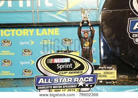 Concord, NC - May 18, 2014: Jamie McMurray (1) wins  the