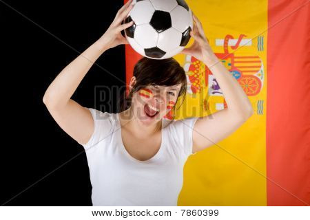 Young Happy Female Spain Team Supporter With Flag And Ball