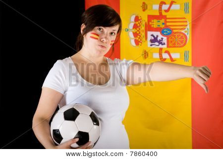 Yound Sad, Unhappy Female Football Fan, Thumb Down