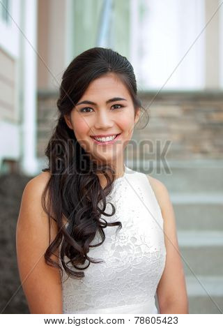 Beautiful Biracial Bride In White Lace Wedding Dress, Smiling