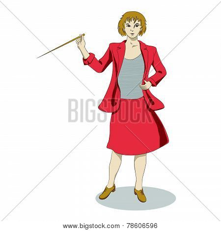 Speaking woman with pointer