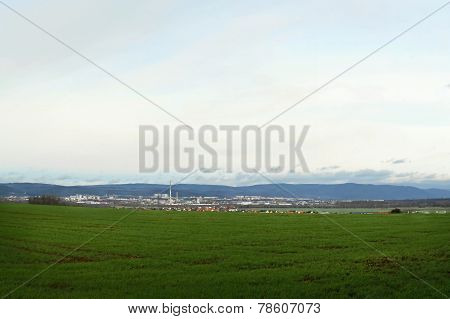 Chomutov with Krusne hory Mountains