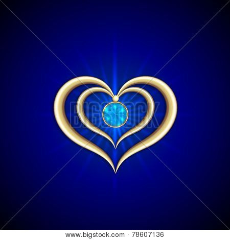 Vector abstract bright blue background with golden hearts and gemstone