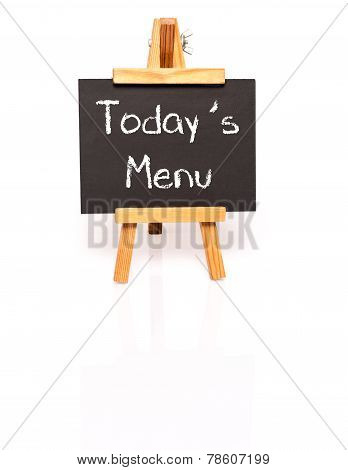 Todays Menu. Blackboard with text and easel.