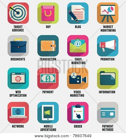 Set Of Business Internet Service And Ecommerce Icons. Flat Style - Part 1