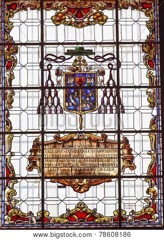 Stained Glass Coat Of Arms Basilica Santa Iglesia Collegiata De San Isidro Madrid Spain