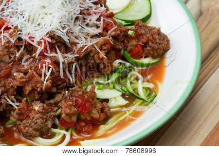 Meat Sauce With Zucchini Noodles