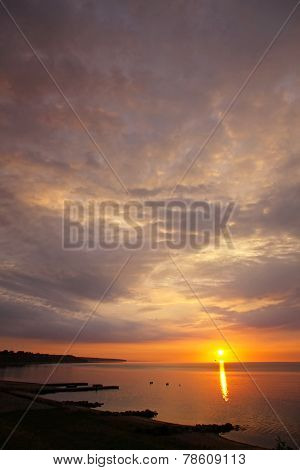 Sunrise Over Kattegat Strait In Fredericia City, Denmark