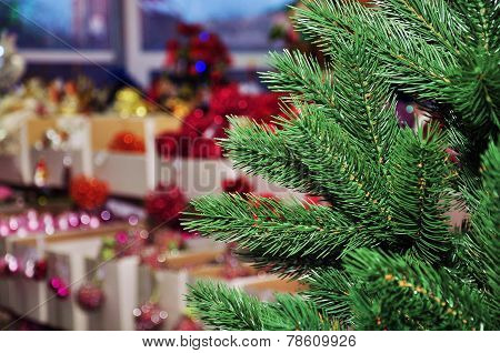 Christmas tree in a toy store