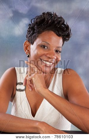 Pretty black woman smiling