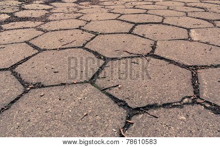 Closeup Of Hexagonal Stone Sidewalk Texture Background