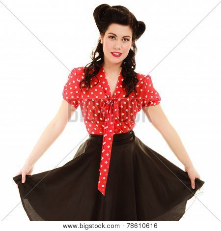 Retro. Portrait Of Woman Girl With Pinup Hairstyle