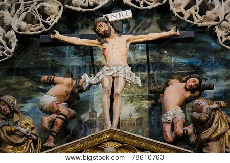 Crucifixion Scene In Burgos Cathedral